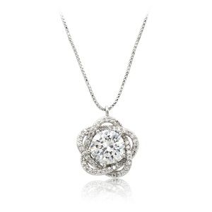 Lovely silver crystal flower necklace